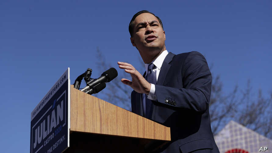 Former San Antonio Mayor and Housing and Urban Development Secretary Julian Castro speaks during an event where he announced his decision to seek the 2020 Democratic presidential nomination, Jan. 12, 2019, in San Antonio.