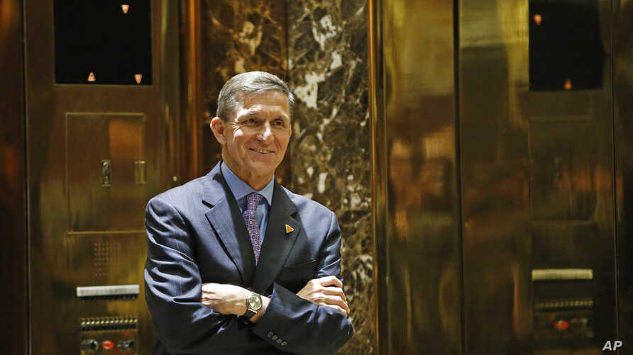 Michael Flynn, President-elect Donald J. Trump's selection for National Security Advisor, arrives at Trump Tower, Dec. 12, 2016, in New York.