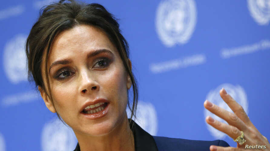 Victoria Beckham speaks during a news conference at the U.N. headquarters in New York, September 24, 2014.