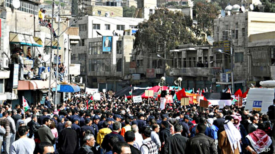 Under heavy security, thousands protested in Amman, Jordan last week.  Analysts say if activist's demands are not met, what are now peaceful well-organized demonstrations are likely to turn more urgent, and more radical.