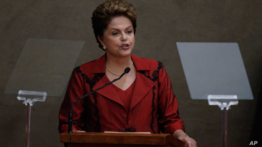 Brazil's President Dilma Rousseff speaks in Brasilia, Dec. 18, 2014.