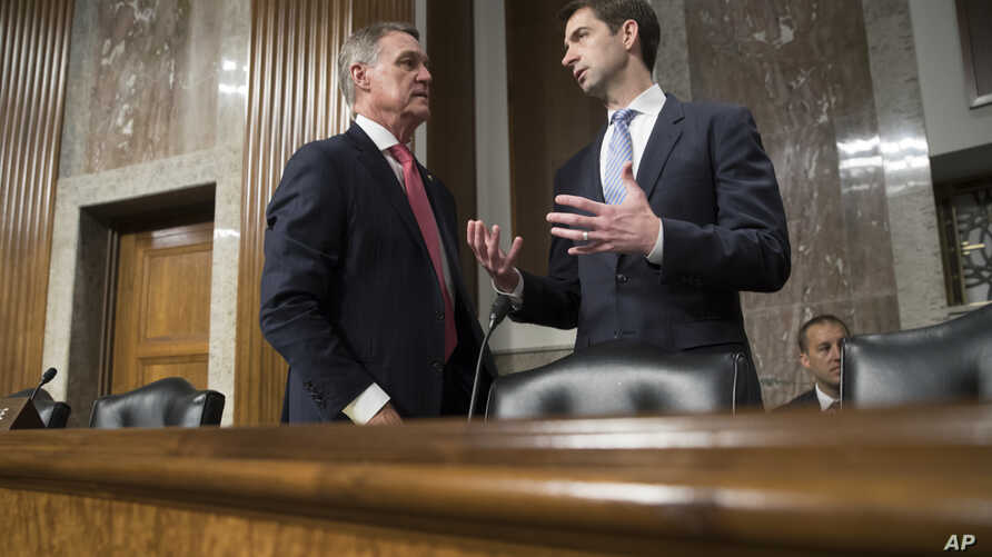 Sen. David Perdue, R-Ga., left, and Sen. Tom Cotton, R-Ark., confer before the start of a Senate Armed Services Committee hearing at the Capitol in Washington, June 20, 2017.