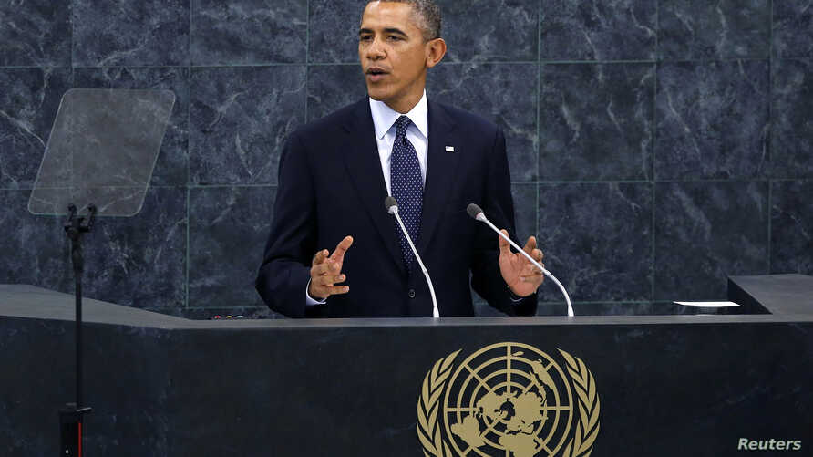 U.S. President Barack Obama addresses the 68th United Nations General Assembly at UN headquarters in New York, Sep. 24, 2013.
