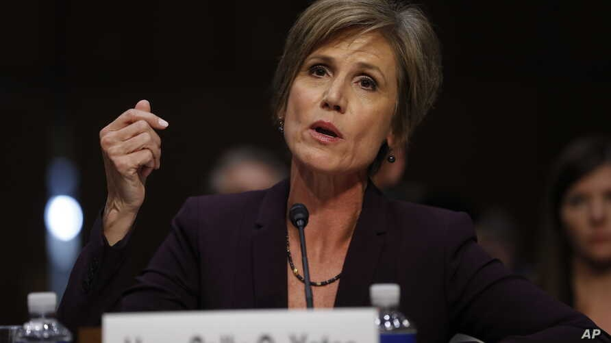 Former acting Attorney General Sally Yates testifies on Capitol Hill in Washington, May 8, 2017.