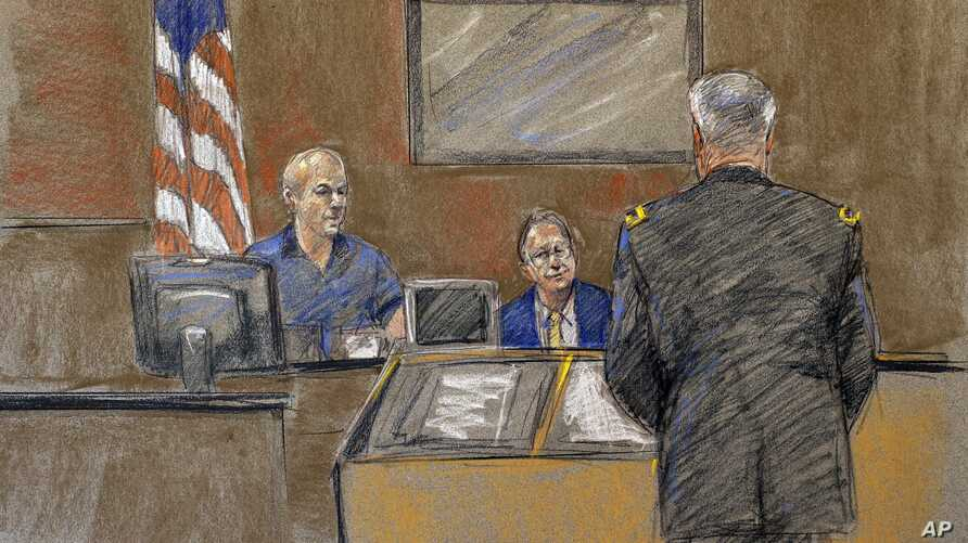 In this courtroom sketch, Juan Velez, left, the father of Pvt. Francheska Velez who was killed in the 2009 Fort Hood shootings, appears during the sentencing phase of Maj. Nidal Hasan's trial, Aug. 26, 2013, in Fort Hood, Texas.