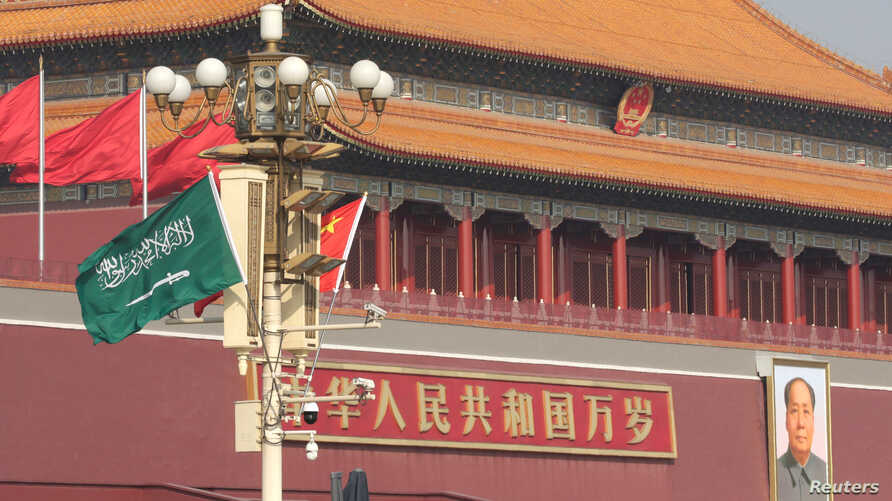 Flags of Saudi Arabia and China are hanged in front of Tiananmen Gate before Saudi Crown Prince Mohammed bin Salman's visit in Beijing, Feb. 21, 2019.