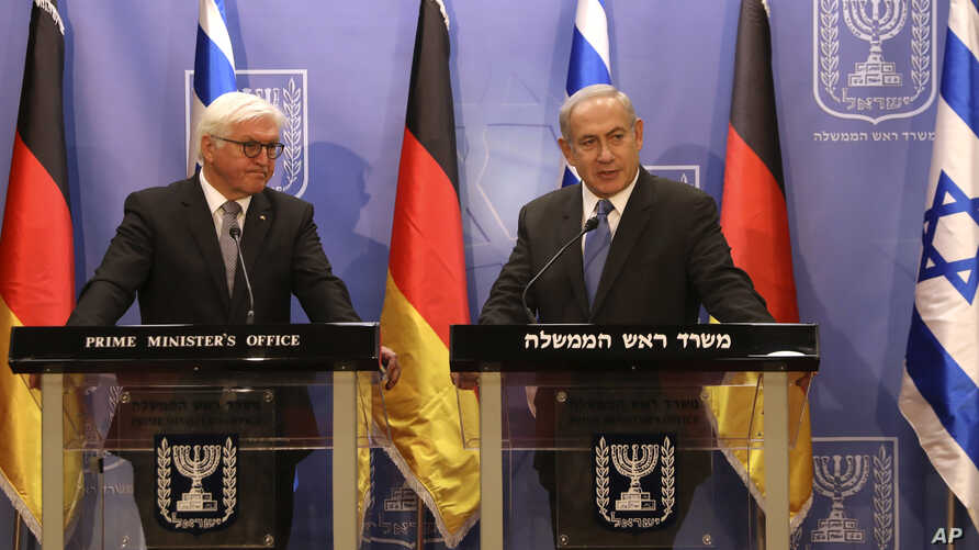 Israel Prime Minister Benjamin Netanyahu, right, speaks during a joint press conference with German President Frank-Walter Steinmeier in Jerusalem, May 7, 2017.