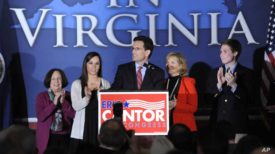 Rep. Eric Cantor, R-Va., speaks to the crowd at the Republican Party of Virginia post-election event at the Omni Hotel in Richmond, Virginia, Nov. 6, 2012.