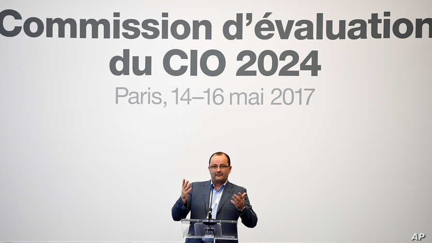 Patrick Baumann, president of the IOC Evaluation Commission for the 2024 Olympic Games addresses the IOC Evaluation Commission session in Paris, May 14, 2017.
