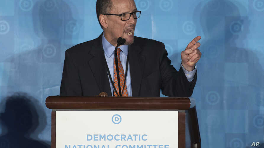 Former Labor Secretary Tom Perez, chosen to be the next chairman of the Democratic National Committee, speaks during the general session of the DNC winter meeting in Atlanta, Feb. 25, 2017.