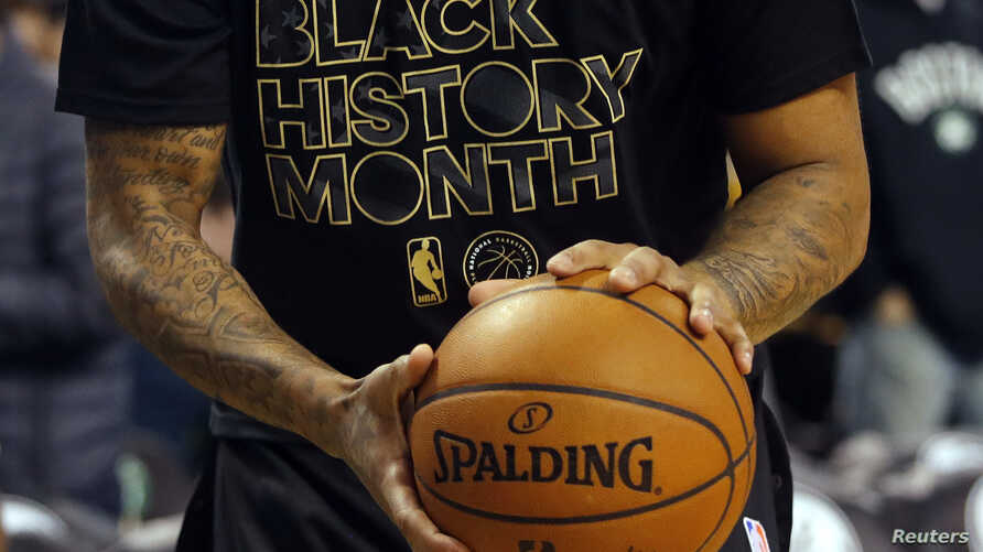 A Boston Celtics player warms up wearing a shirt commemorating Black History Month before the team's game against the Toronto Raptors at TD Garden, Boston, Feb 1, 2017. (Credit: Winslow Townson/USA TODAY)