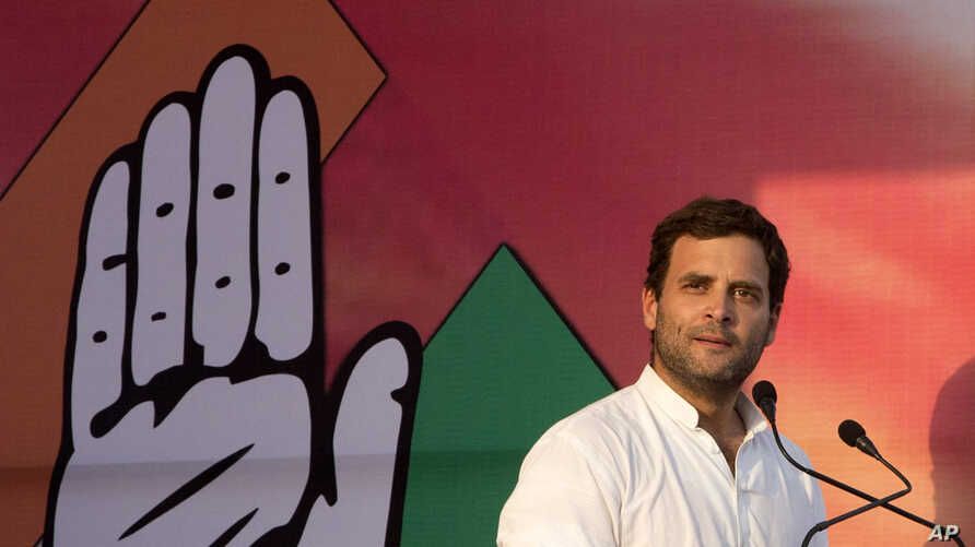 India's ruling Congress party vice president Rahul Gandhi,  addresses an election campaign rally in Allahabad, in the northern Indian state of Uttar Pradesh, India, May 5, 2014.