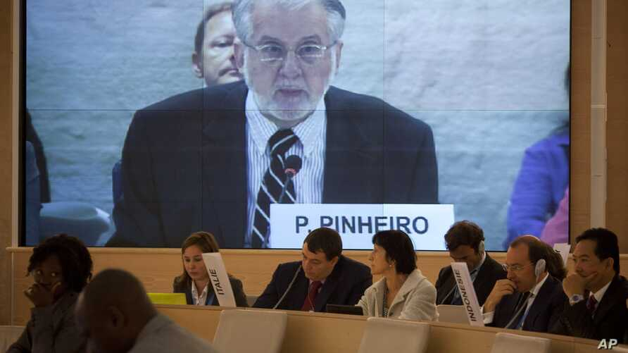 Brazilian diplomat Paulo Sergio Pinheiro delivers the report of the Independent Commission of Inquiry on Syria during to the Human Rights Council at the United Nations in Geneva, Switzerland, September 17, 2012.
