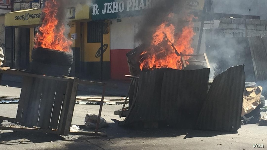 On Feb. 11, 2019, a flaming barricade in Port au Prince, Haiti, where protesters are decrying impossible living conditions, corruption and demanding the president resign.
