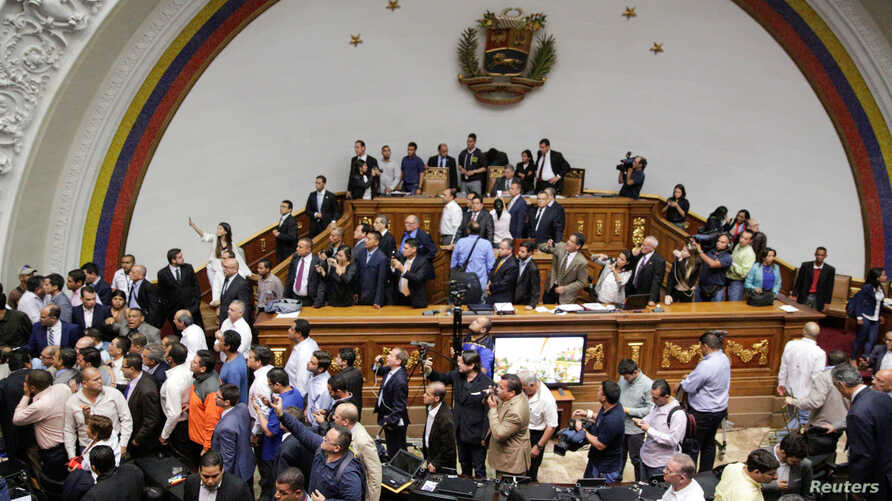 A general view of Venezuela's National Assembly as  supporters of Venezuela's President Nicolas Maduro (not pictured) storm into a session of the National Assembly in Caracas, Venezuela, Oct. 23, 2016.