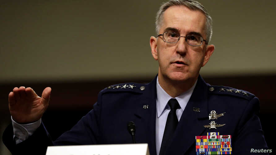 FILE - U.S. Air Force General John Hyten testifies in a Senate Armed Services Committee hearing on Capitol Hill in Washington, April 4, 2017.