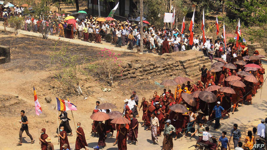 Protestors take part in a demonstration against Burma's forthcoming nationwide census in Mrauk-U in Rakhine state, March 16, 2014.