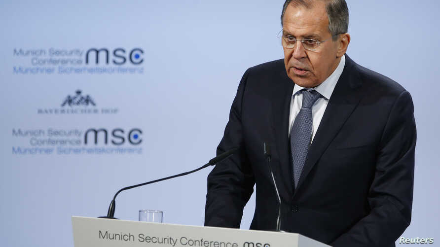 Russian Foreign Minister Sergey Lavrov talks at the Munich Security Conference in Munich, Germany, Feb. 17, 2018.