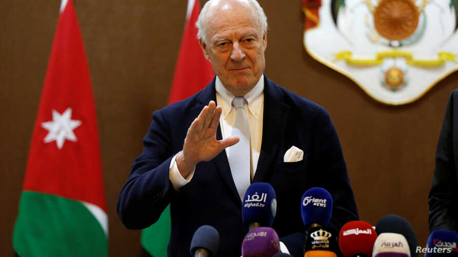 U.N. Syria envoy Staffan de Mistura speaks to the media after his meeting with Jordanian Foreign Minister Ayman Safadi in Amman, Jordan, Dec. 10, 2018.