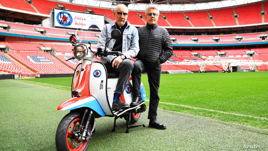 Roger Daltrey and Pete Townshend of The Who pose for a picture at Wembley Stadium in London, March 13, 2019.