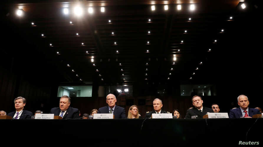 Federal Bureau of Investigation (FBI) Director Christopher Wray; Central Intelligence Agency (CIA) Director Mike Pompeo; Director of National Intelligence (DNI) Dan Coats; Defense Intelligence Agency Director Robert Ashley;  National Security Agency