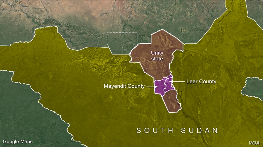 Leer and Mayendit counties in Unity state, South Sudan