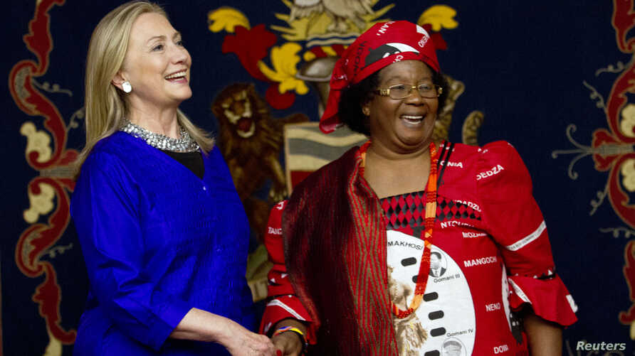 U.S. Secretary of State Hillary Rodham Clinton, left, meets with Malawi's President Joyce Banda at the State House in Lilongwe, Malawi, Aug. 5, 2012.
