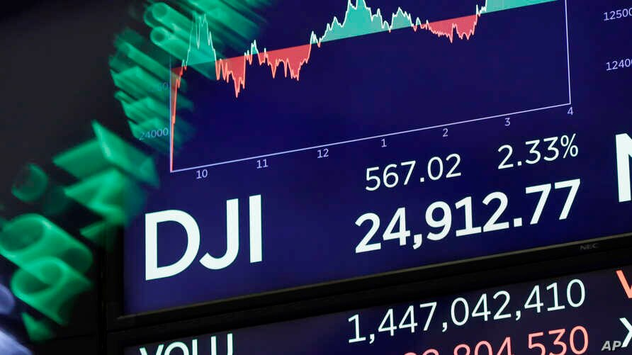 A board above on the trading floor of the New York Stock Exchange shows the closing number for the Dow Jones industrial average, Feb. 6, 2018.