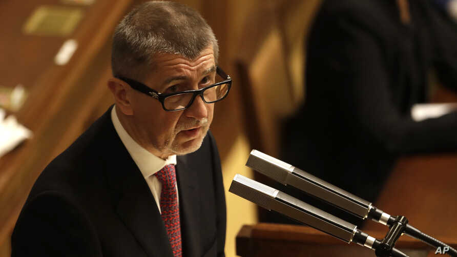 FILE - Czech Republic's Prime Minister Andrej Babis addresses lawmakers during a Parliament session in Prague, Czech Republic, Jan. 10, 2018.