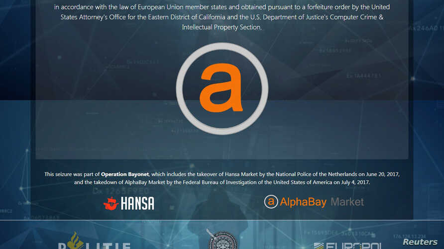 U.S. Justice Department image shows a web screen after it had shut down the dark web marketplace AlphaBay, the site accused of allowing hundreds of thousands of people to buy and sell drugs, firearms, computer hacking tools and other illicit goods, r