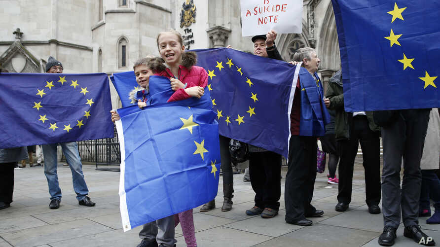 European Union membership supporters hold EU flags on the first day of hearings in a lawsuit on whether Prime Minister Theresa May's government can trigger Britain's exit from the European Union without an act of Parliament, at the High Court, in Lon