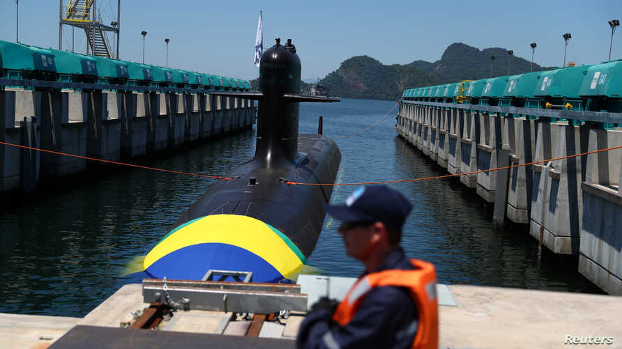 The submarine Riachuelo is seen during its launch ceremony in Itaguai, Brazil, Dec. 14, 2018.
