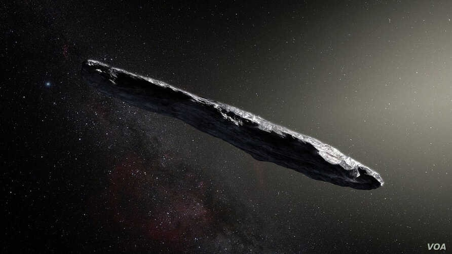 Artist's rendering of Oumuamua as it passed through the solar system after its discovery in October 2017. (Image Credit: European Southern Observatory/M. Kornmesser via NASA)