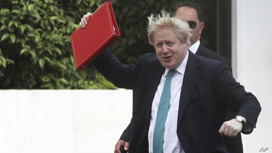 British Foreign Secretary Boris Johnson, reacts as he arrives at the Greek foreign ministry prior his meeting with Greek Foreign Minister Nikos Kotzias, in Athens, on Thursday, April 6, 2017.