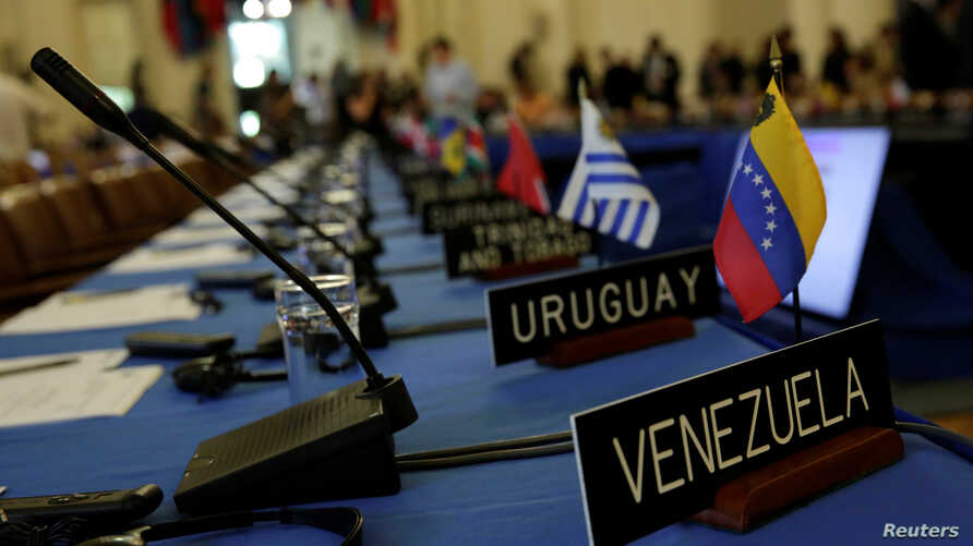 Delegates' seats are prepared for the Organization of American States' (OAS) meeting of foreign ministers to discuss the situation in Venezuela, in Washington, May 31, 2017.