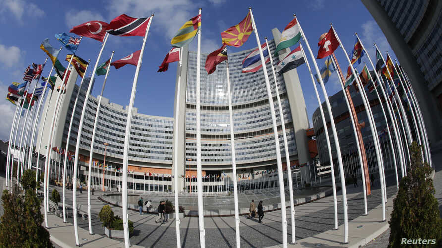 The United Nations headquarters building in Vienna, where six world powers and Iran launched talks over Tehran's nuclear projects Wednesday.