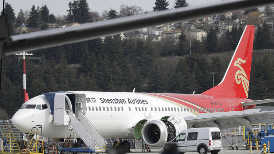 A brand-new Shenzhen Airlines Boeing 737 Max 8 airplane sits parked at Boeing Field, March 14, 2019, in Seattle. The fatal crash Sunday of a 737 Max 8 operated by Ethiopian Airlines was the second fatal flight for the model in less than six months.