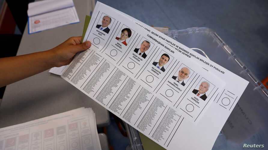 Ballots for Turkey's presidential and parliamentary elections are pictured at a polling station in Istanbul, Turkey, June 24, 2018.
