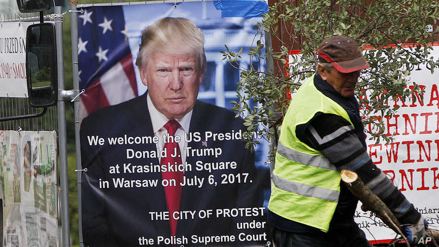 A poster advertising U.S. President Donald Trump's speech at the Krasinski Square on July 6, in Warsaw, Poland, July 4, 2017.