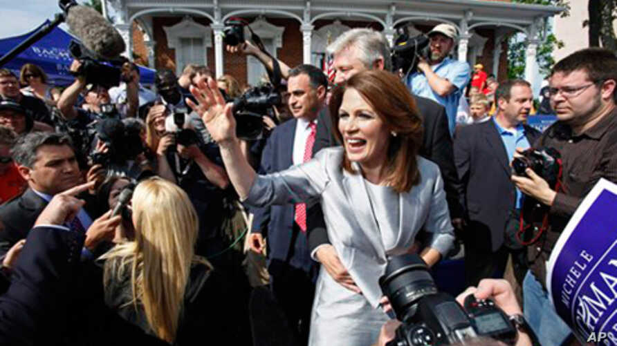 Rep. Michele Bachmann, R-Minn., waves to supporters after making her formal announcement to seek the 2012 Republican presidential nomination in Waterloo, Iowa. Bachmann, who was born in Waterloo, will continue her announcement tour this week with sto