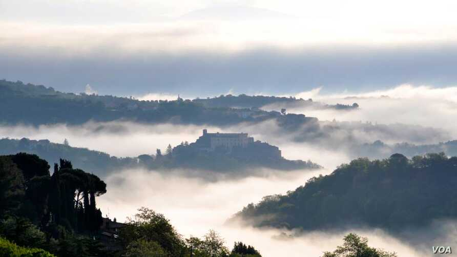 Mist shrouds the view from Cellena into a valley in Lazio, one of the central regions devastated by last week's quake.