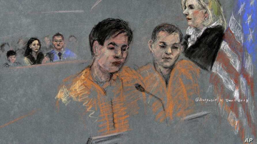 In this courtroom sketch, defendants Dias Kadyrbayev, left, and Azamat Tazhayakov appear before Magistrate Judge Marianne Bowler, Aug. 13, 2013 in Federal court in Boston.