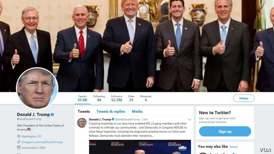 President Donald Trump's Twitter page.