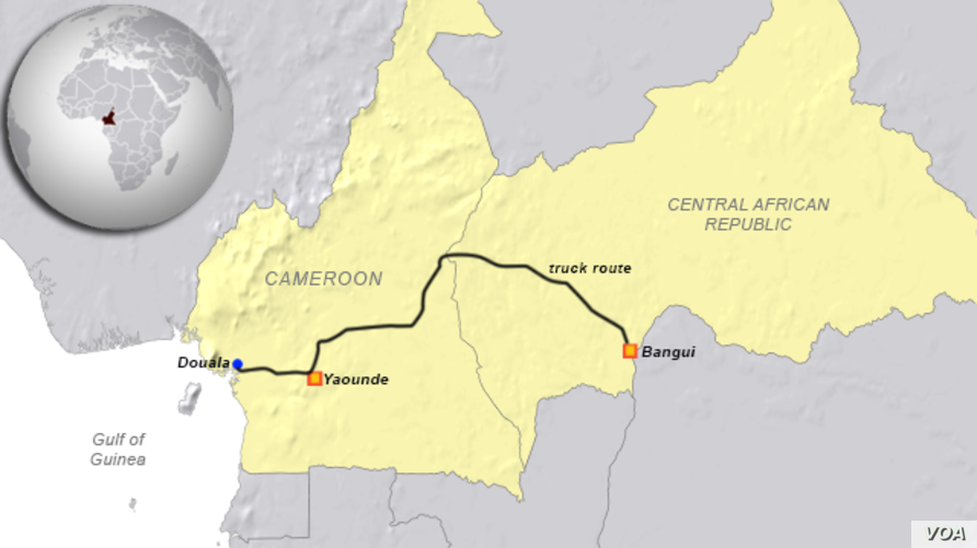 Douala, Cameroon to Bangui, CAR, truck route