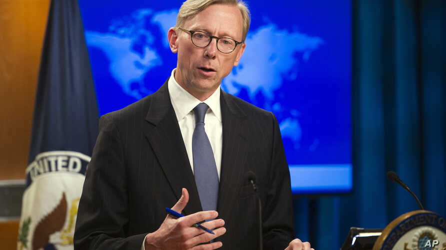 FILE - Brian Hook, U.S. special representative for Iran, speaks at the State Department, in Washington, Aug. 16, 2018.