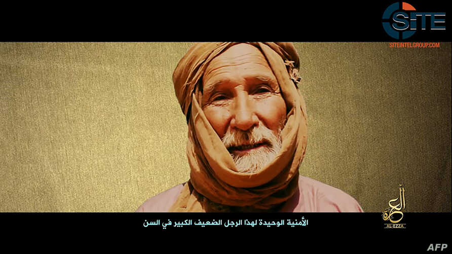 This video grab made on July 2, 2017 from a video provided by the SITE Intelligence Group shows elderly Australian surgeon Arthur Kenneth Elliott, one of the six hostages held by Al-Qaeda's Mali branch.