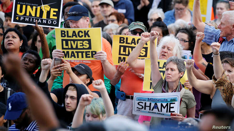 People protest in support of Philando Castile during a rally on the capitol steps after a jury found St. Anthony Police Department officer Jeronimo Yanez not guilty of second-degree manslaughter in the death of Castile, in St. Paul, Minnesota, June 1...