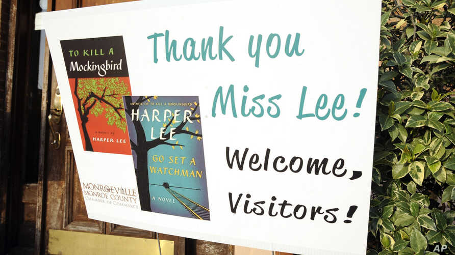 """A sign welcomes book fans to Monroeville, Alabama, the hometown of """"To Kill a Mockingbird"""" author Harper Lee, July 8, 2015."""