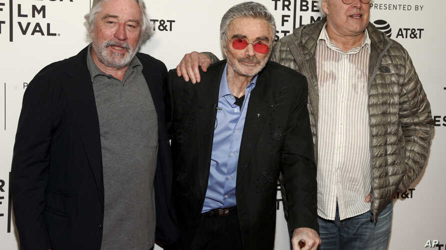 "Robert De Niro, from left, Burt Reynolds and Chevy Chase attend the screening of ""Dog Years,"" during the 2017 Tribeca Film Festival, at Cinepolis Chelsea, April 22, 2017, in New York."