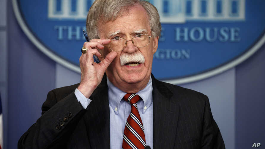 FILE - National security adviser John Bolton speaks during a briefing at the White House, Aug. 2, 2018, in Washington.